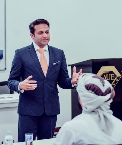 Tarak Nath Gorai delivering a Keynote / guest lecture on Change Management at the American University of Emirates
