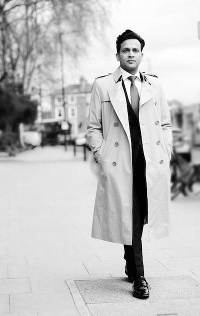 Tarak Nath Gorai, Walking smartly a leafy upmarket London suburb B&W